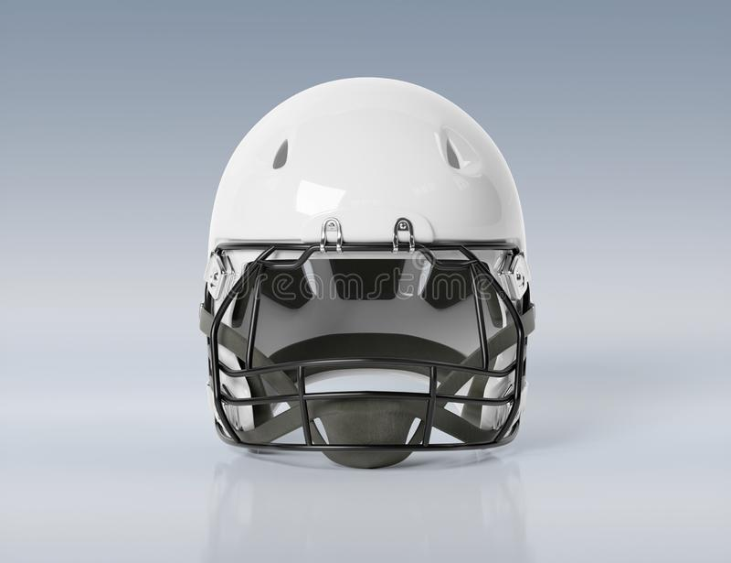 White American football helmet isolated on grey mockup 3D rendering. White American football helmet isolated on grey background mockup 3D rendering vector illustration