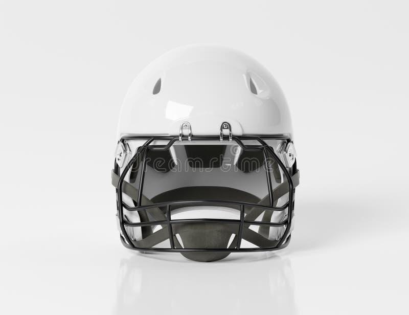 White American football helmet isolated on white mockup 3D rendering. White American football helmet isolated on white background mockup 3D rendering royalty free illustration