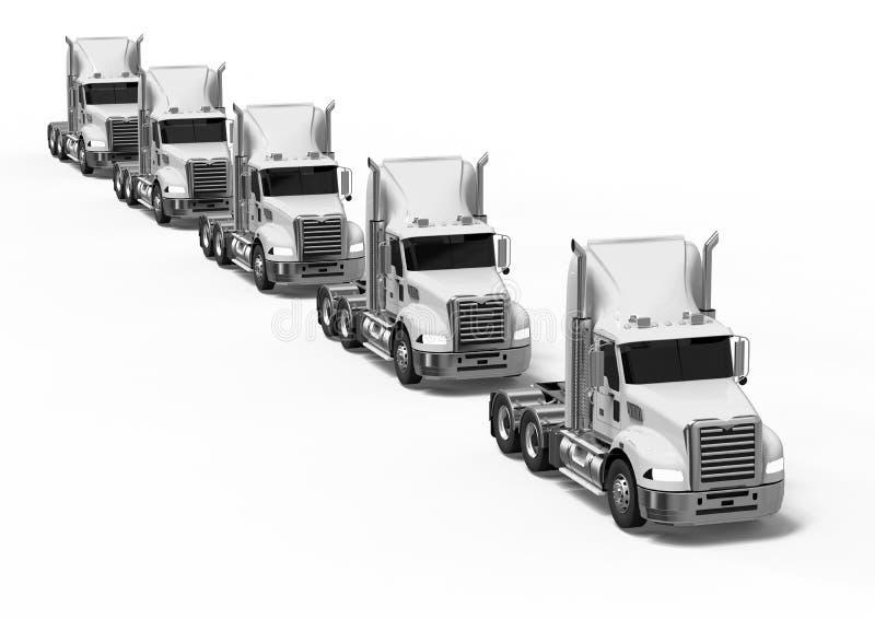 White American trucks fleet stock illustration