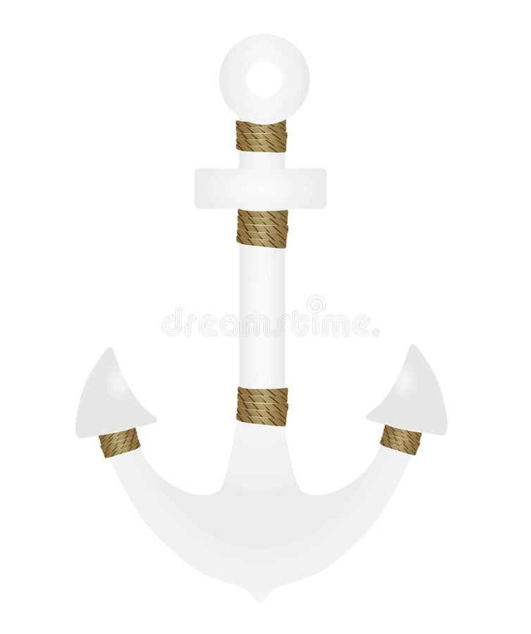White anchor, front view. Vector illustration royalty free illustration