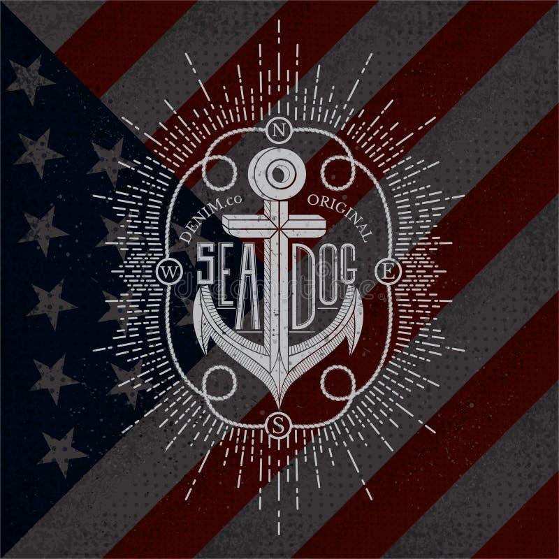 Free White Anchor On USA Flag. Grunge Background Stock Photography - 68147452