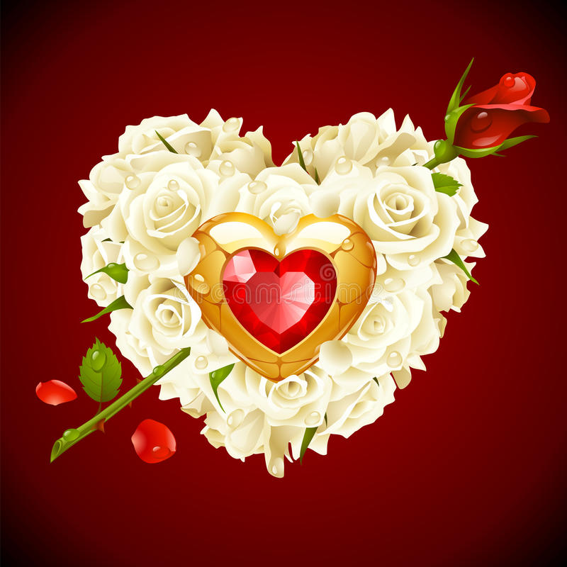 Free White And Red Rose In The Shape Of Heart Royalty Free Stock Images - 27182679