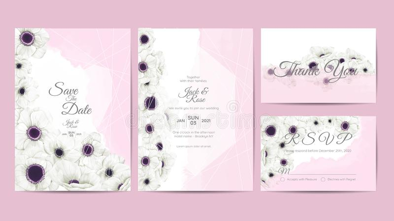 White Anemone Flowers Watercolor Wedding Invitation Template. Hand Drawing Flower and Branches Save the Date, Greeting, Thank You royalty free illustration