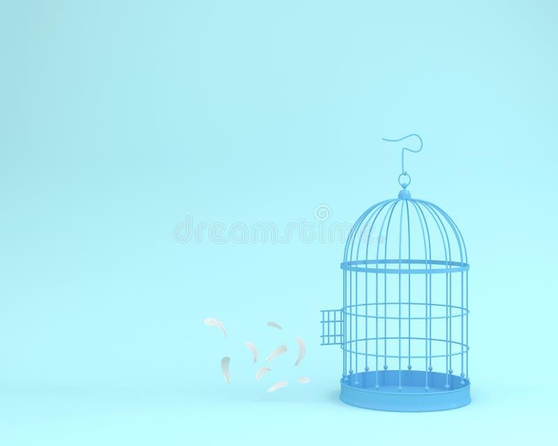 White angel feathers floating outside retro bird cage on pastel. Blue background minimal idea concept of freedom vector illustration