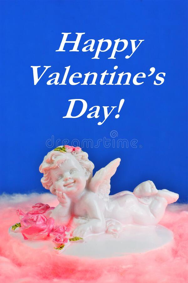 White angel on a pink cloud, romantic inscription for the holiday of lovers stock photos