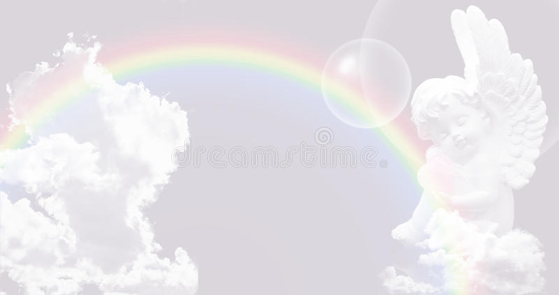 White Angel on the sky with rainbow vector illustration