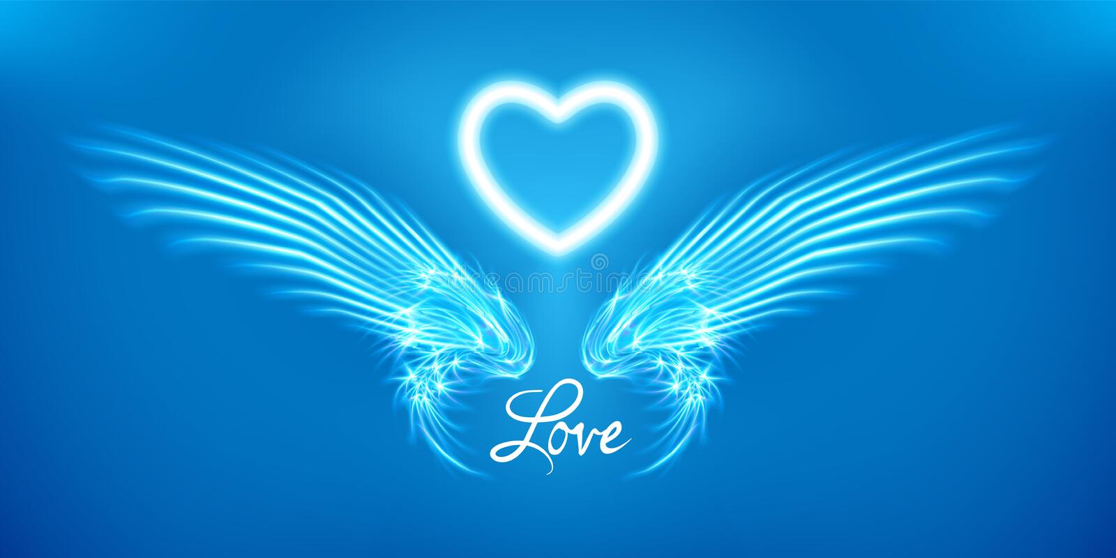 White angel wings and heart on blue background. Glowing fantasy, Valentines day attribute. Inscription love. Happy greeting card royalty free illustration