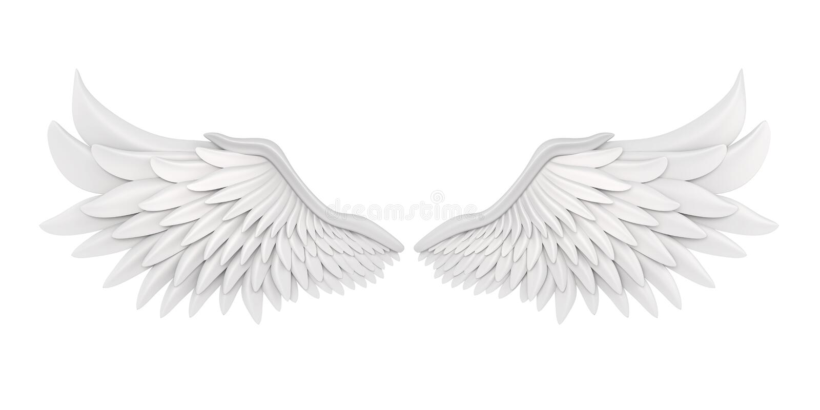 White Angel Wings Isolated. On white background. 3D render vector illustration