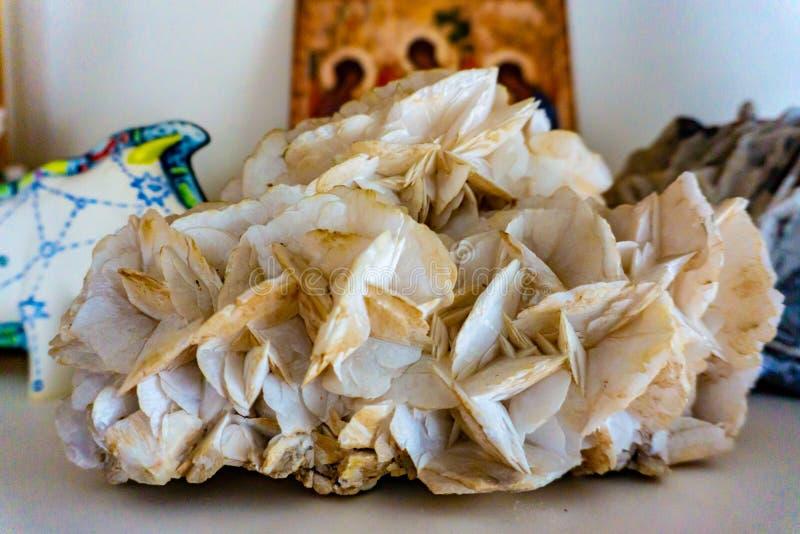 White Angled Aura Quartz mineral stone royalty free stock photo