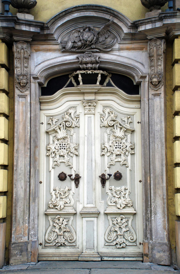 White antique baroque door royalty free stock photos