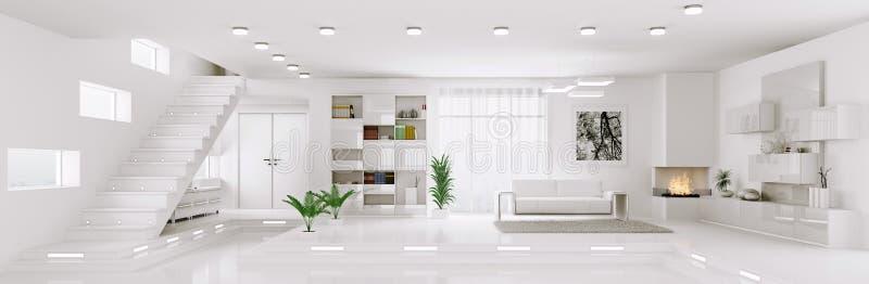 White apartment panorama interior 3d render royalty free illustration