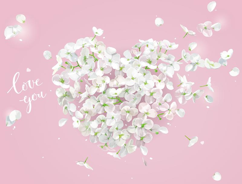 White Flower vector Heart on the wind on pink background stock illustration