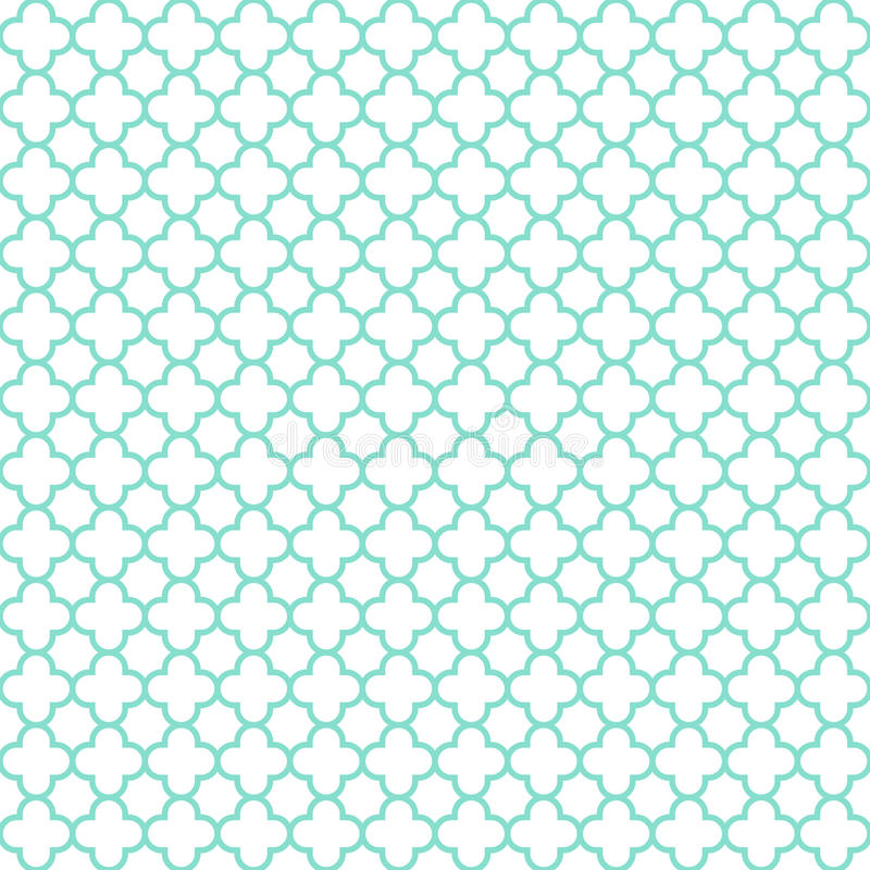 White & aqua quatrefoil pattern, seamless texture background royalty free stock photo