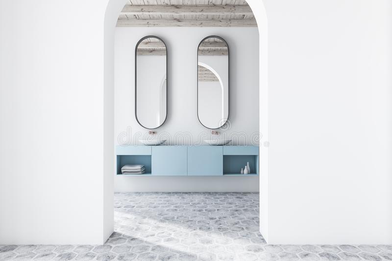 White arched bathroom interior, double sink. Interior of modern bathroom with white walls, tiled floor, arched doorway and double sink on blue countertop with stock illustration