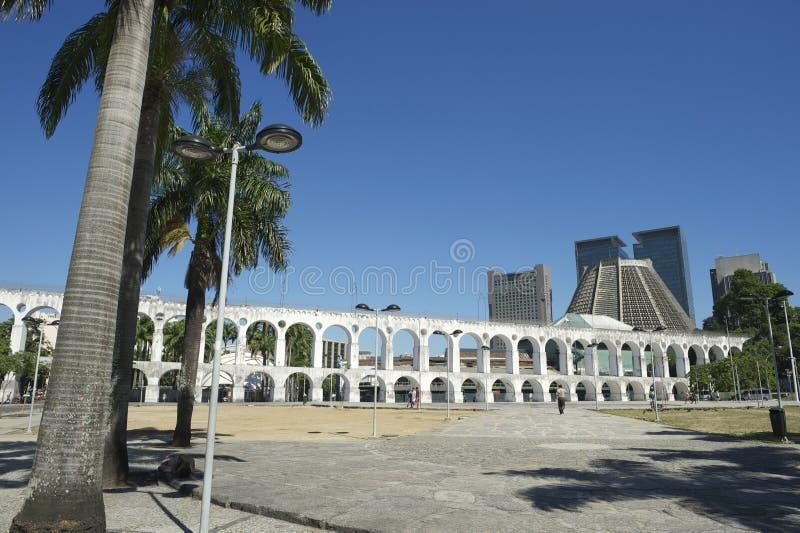 White Arches at Arcos da Lapa Centro Rio de Janeiro Brazil. Landmark white arches of Arcos da Lapa in a plaza at the skyline in Centro of Rio de Janeiro Brazil stock photos