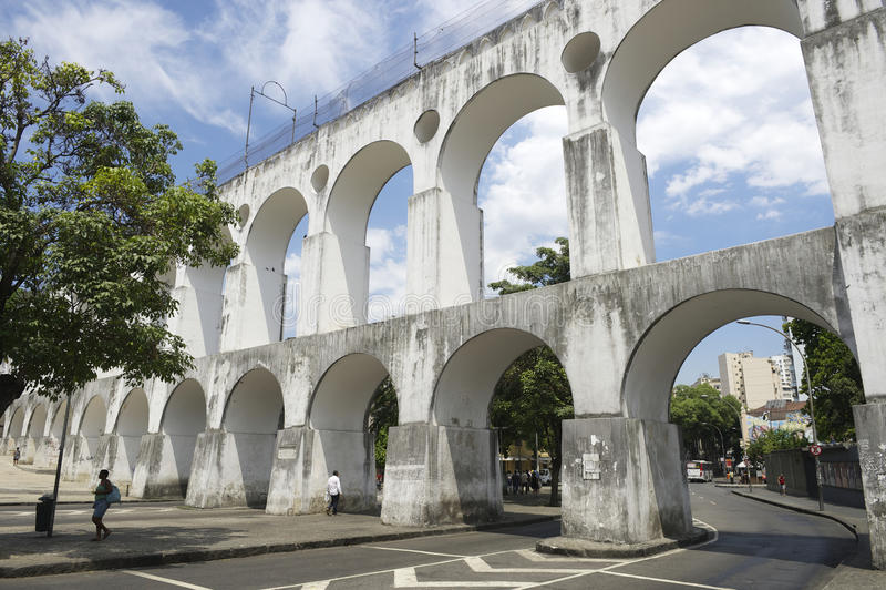 White Arches at Arcos da Lapa Rio de Janeiro Brazil stock photo