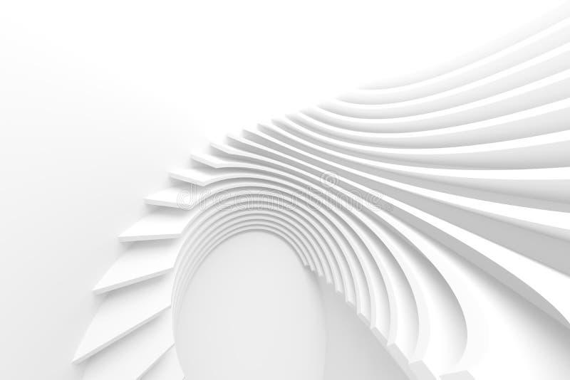 White Architecture Circular Background. Modern Building Design vector illustration