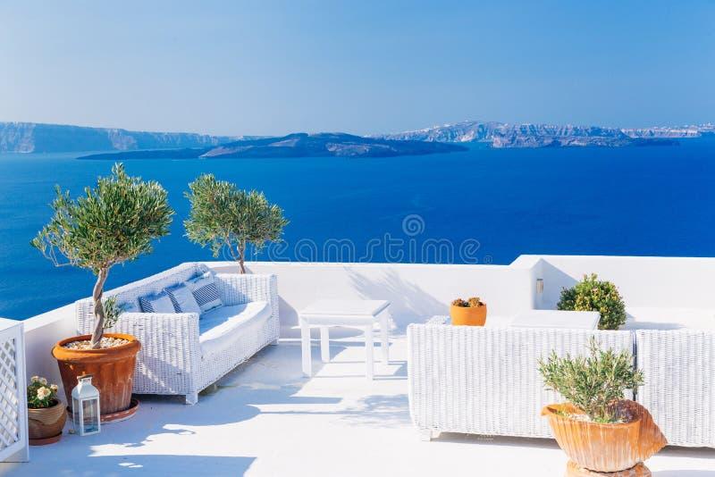 White architecture on Santorini stock photography