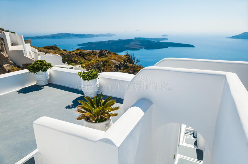 White architecture on Santorini island, Greece. Beautiful landscape with sea view royalty free stock photos
