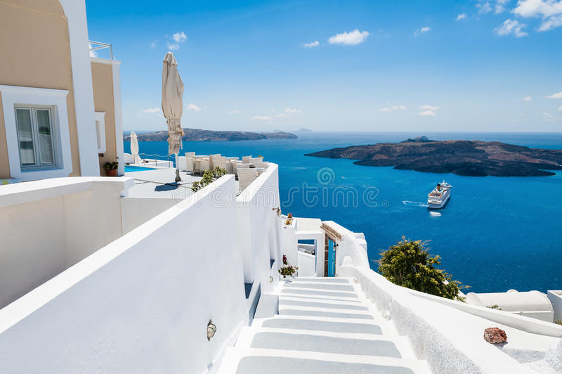 White architecture on Santorini island, Greece. Luxury hotel with sea view. White architecture on Santorini island, Greece. Beautiful summer landscape stock photography