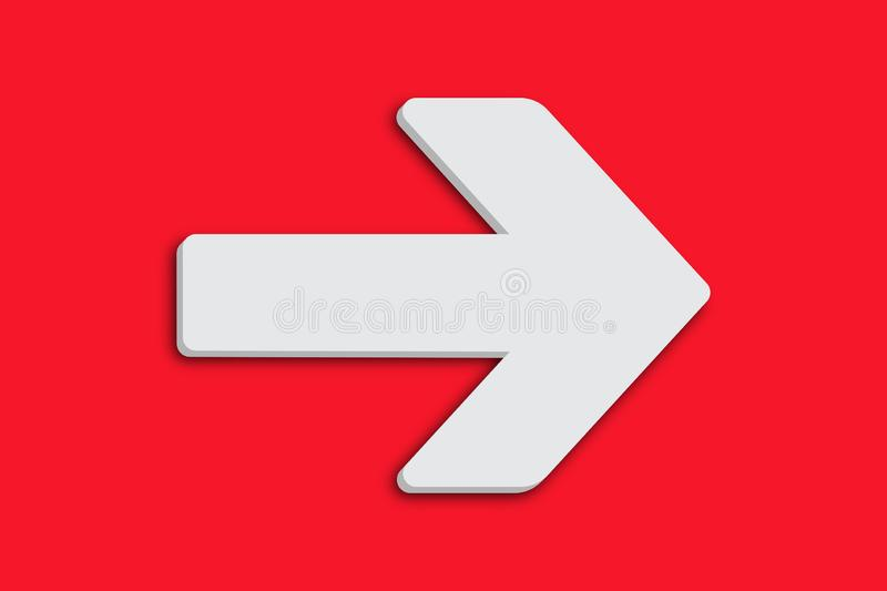 White arrow sign symbol in minimalist white grey color 3D design shape isolated simple minimal clean intense vivid red background. White arrow sign symbol in vector illustration