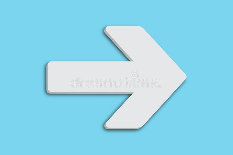 White arrow sign symbol in minimalist white grey color 3D design shape isolated simple minimal clean pastel baby blue background. White arrow sign symbol in stock illustration