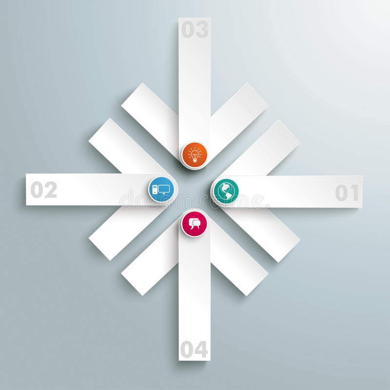 4 White Arrows Cross PiAd. Infographic design on the grey background. Eps 10 file vector illustration
