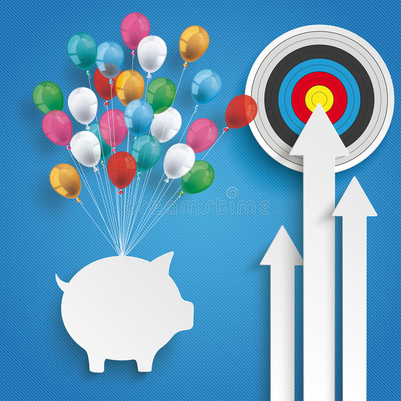 3 White Arrows Piggy Bank Target Balloons Blue royalty free illustration