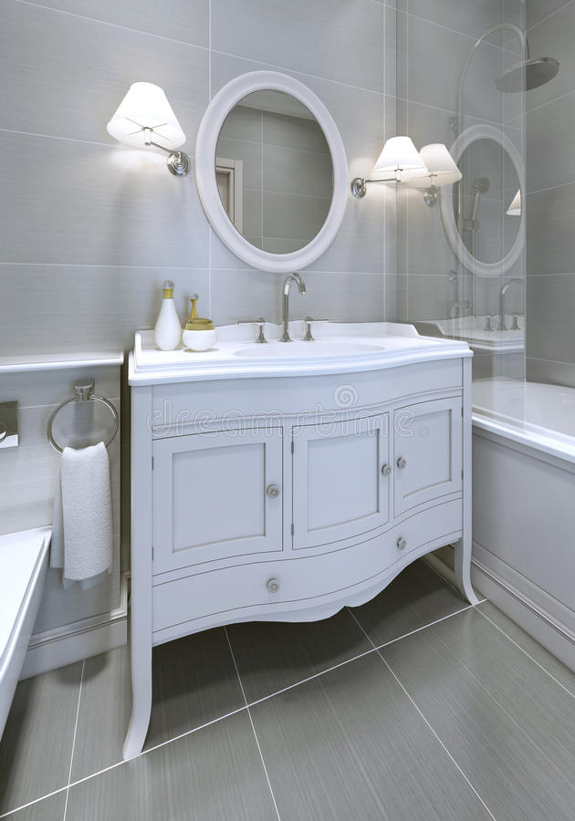 White art deco styled sink console in bathroom. Round mirror with sconces on both sides. 3D render stock images