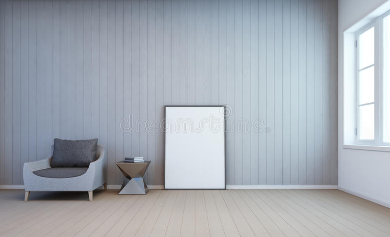 White art frame on wall in living room royalty free stock photography
