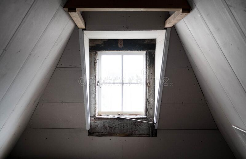 White Attic Window stock photography