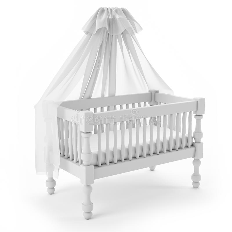 Download White Baby Crib With Canopy Isolated On White Background Stock Illustration - Illustration of child  sc 1 st  Dreamstime.com & White Baby Crib With Canopy Isolated On White Background Stock ...