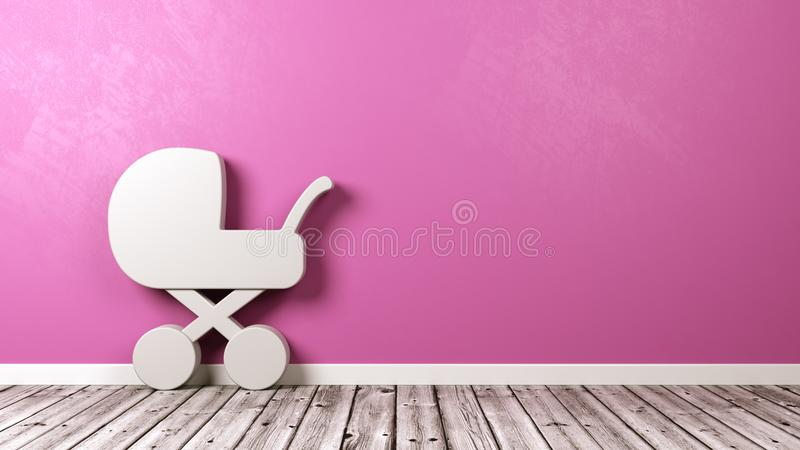 Baby Stroller Symbol in the Room. White Baby Stroller Symbol Shape on Wooden Floor Against Pink Wall with Copy Space 3D Illustration vector illustration