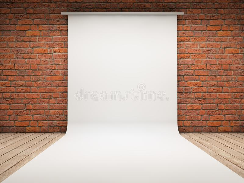 White backdrop. On a room royalty free illustration
