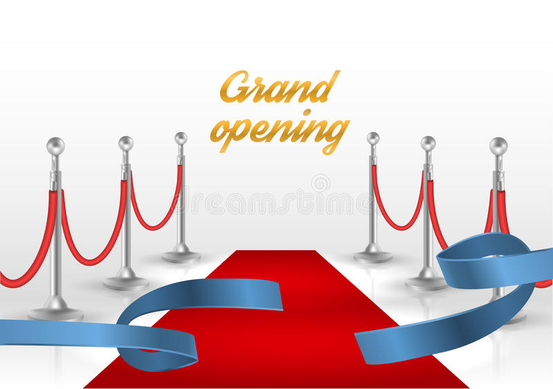 White backgraund with red carpet and blue ribbon. vector illustration. EPS10 royalty free illustration