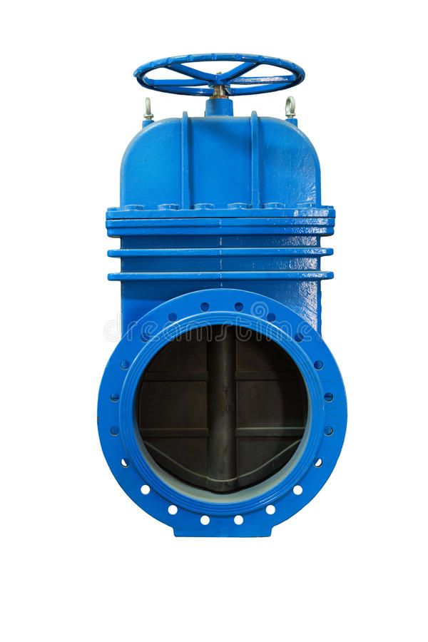 On a white background blue metal shut-off valve for gas pipelines. Sliding knife gate valve Shutoff and control valves. Isolated. Modern locking devices allow royalty free stock photos