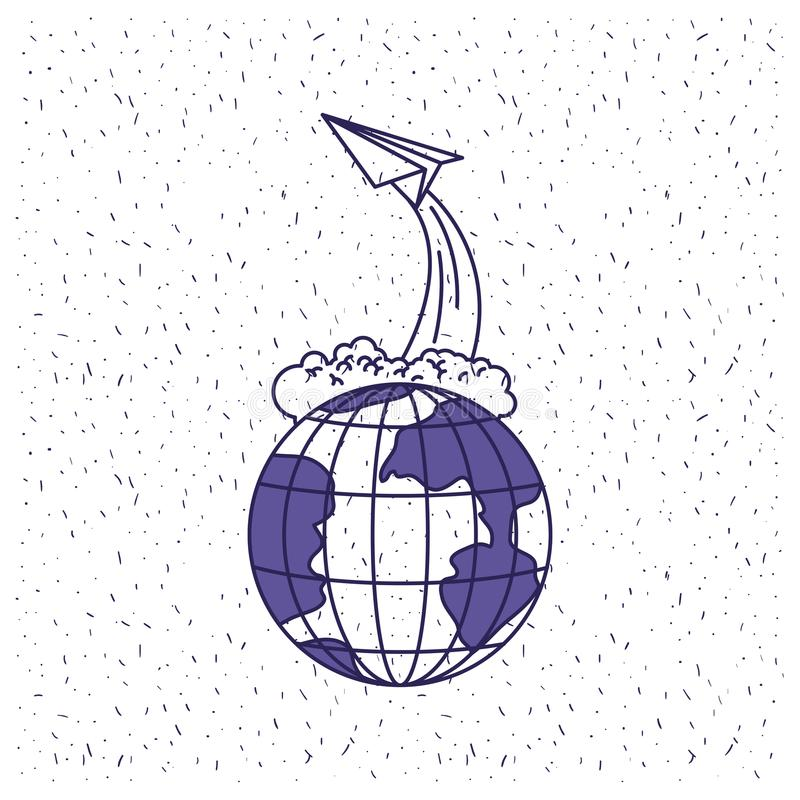 White background with blue silhouette earth globe and paper plane flying stock illustration
