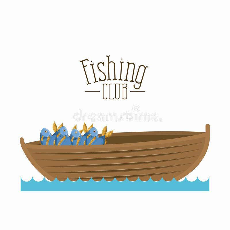 White background boat with bucket full of fish and text logo fishing club stock illustration