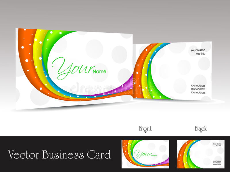 Download White Background Business Card With Colorful Waves Stock Vector