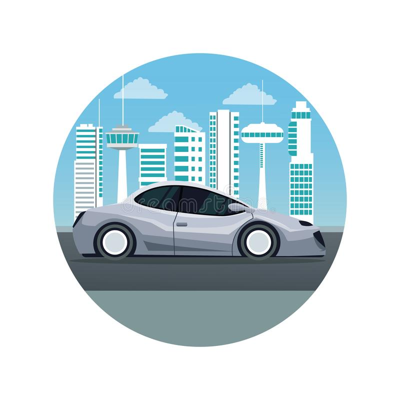 White background with circular frame futuristic city landscape silhouette with colorful modern gray car vehicle vector illustration