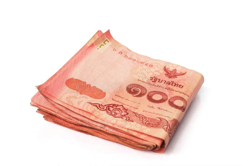 Thai currency. Thai banknotes on white background.with Clipping Path royalty free stock photo