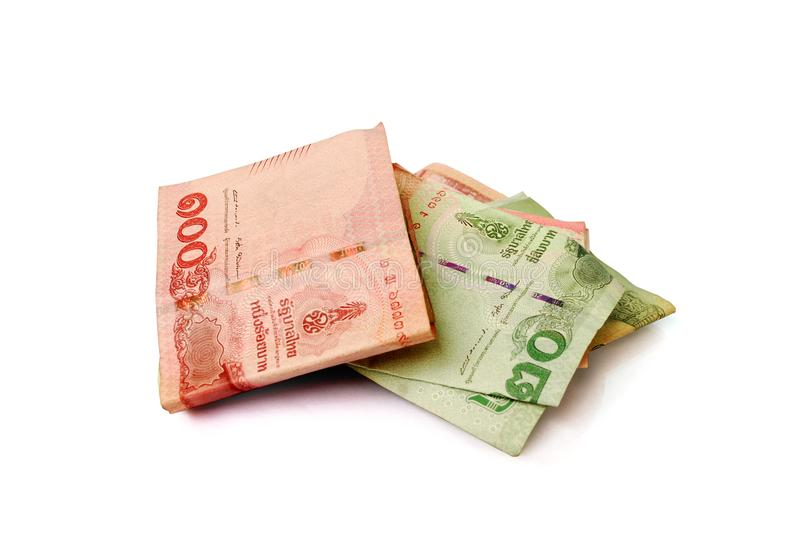 Thai currency. Thai banknotes on white background.with Clipping Path stock photo