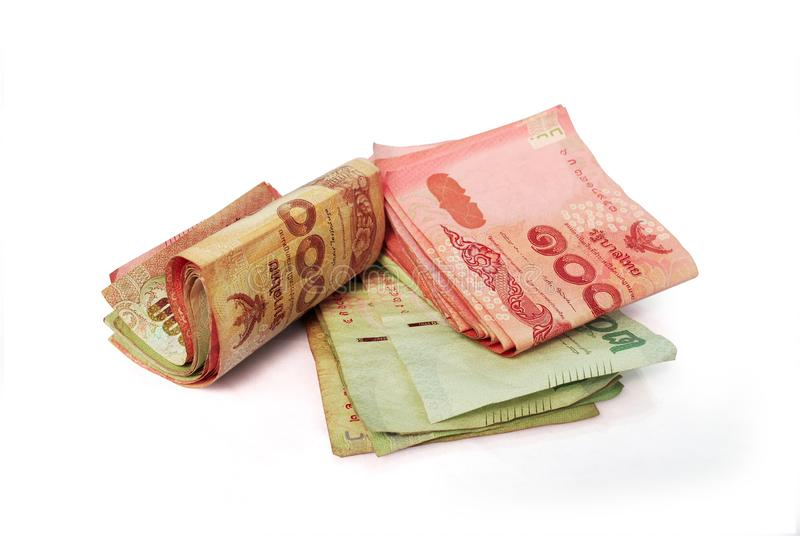 Thai currency. Thai banknotes on white background.with Clipping Path royalty free stock photos
