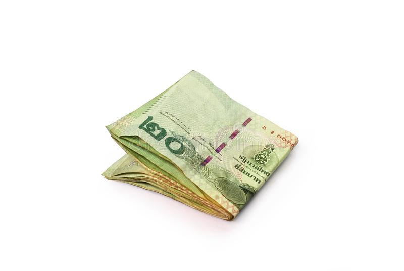 Thai currency. Thai banknotes on white background.with Clipping Path royalty free stock image