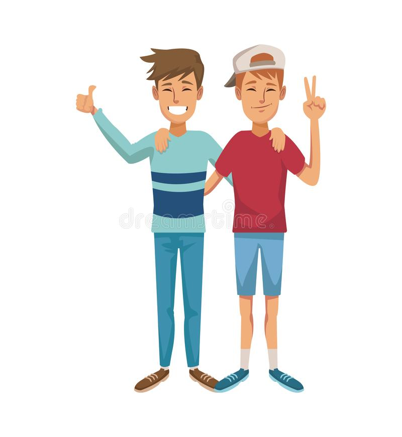 White background with color graphic of couple of caucasian male friends posing. Vector illustration royalty free illustration