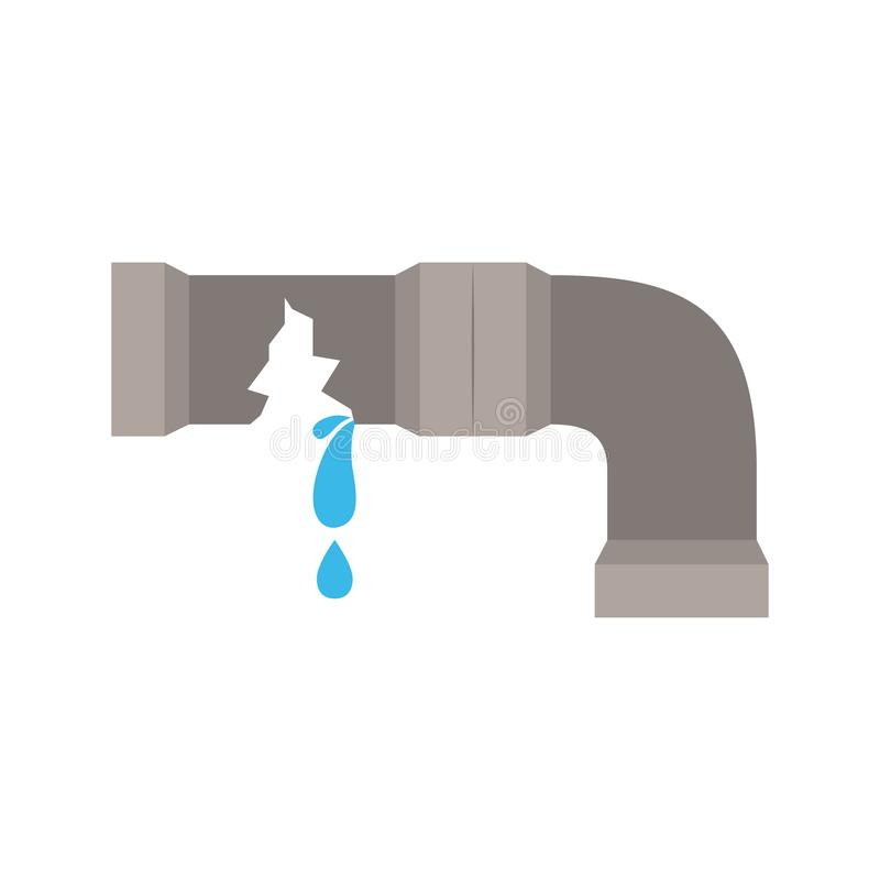 White background with color silhouette of water pipe broken. Vector illustration royalty free illustration