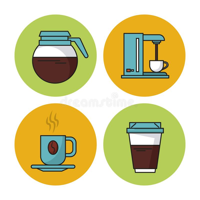 White Background With Colorful Circular Frames With Icons Of Coffee ...