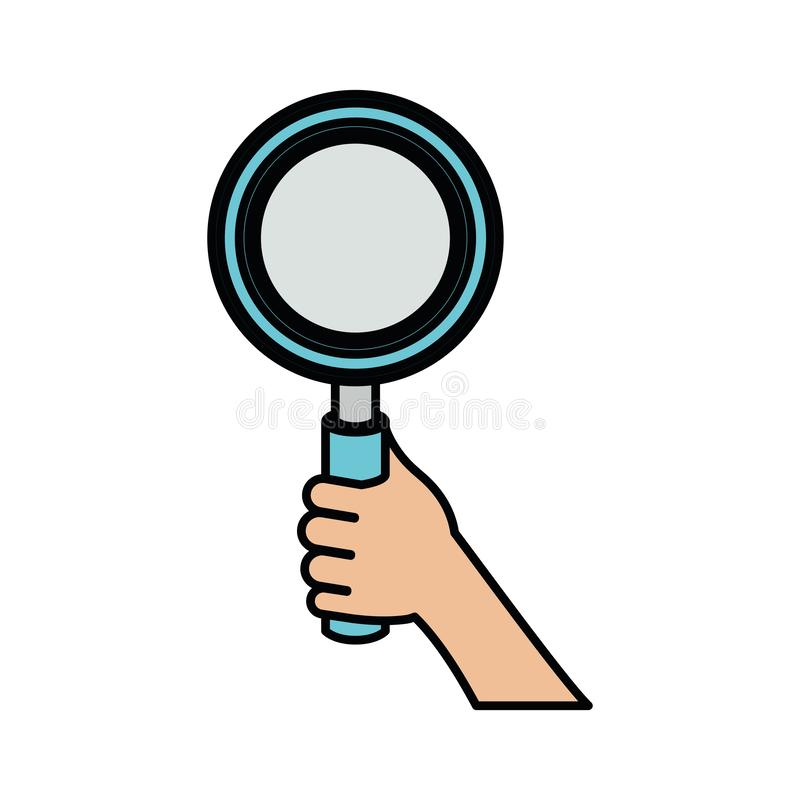 White background with colorful hand holding magnifying glass with thick contour. Vector illustration royalty free illustration
