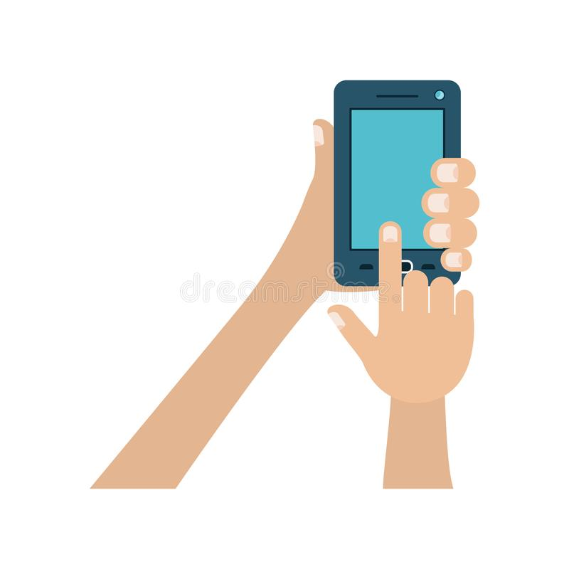 White background with colorful hands holding smartphone. Vector illustration stock illustration