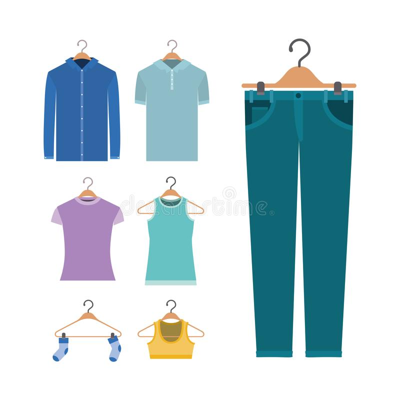 White background of colorful set elements clothes in hangers vector illustration
